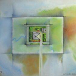 Картина на склі ужгородської художниці Наталії Добровольскої Дорога до дому, на якій зображені карти та вид зверху будинку.