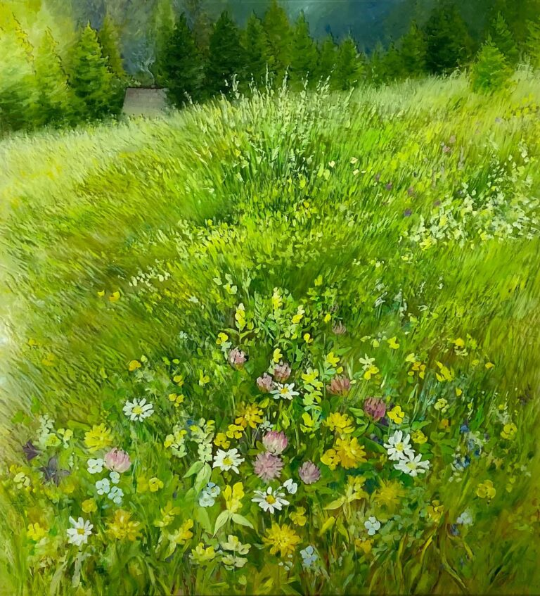 Meadows. 50х54 glass, oil 2020